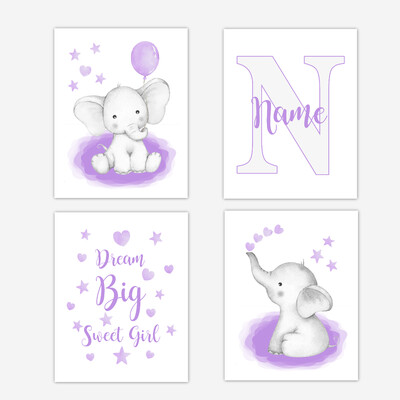 Watercolor Purple Elephants Baby Girl Nursery Art Wall Decor 4 UNFRAMED PRINTS or CANVAS