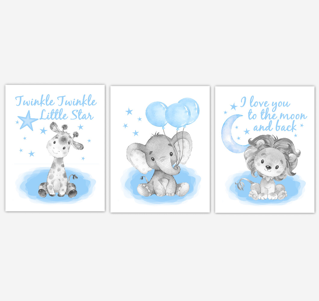 Watercolor Blue Elephant With Balloons Giraffe Lion Safari Baby Boy Nursery Art Wall Decor 3 UNFRAMED PRINTS or CANVAS