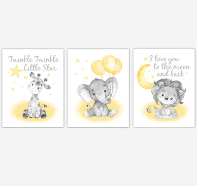 Yellow Baby Nursery Art Elephant With Balloons Giraffe Lion Safari Animals Gender Neutral Wall Decor 3 UNFRAMED PRINTS or CANVAS