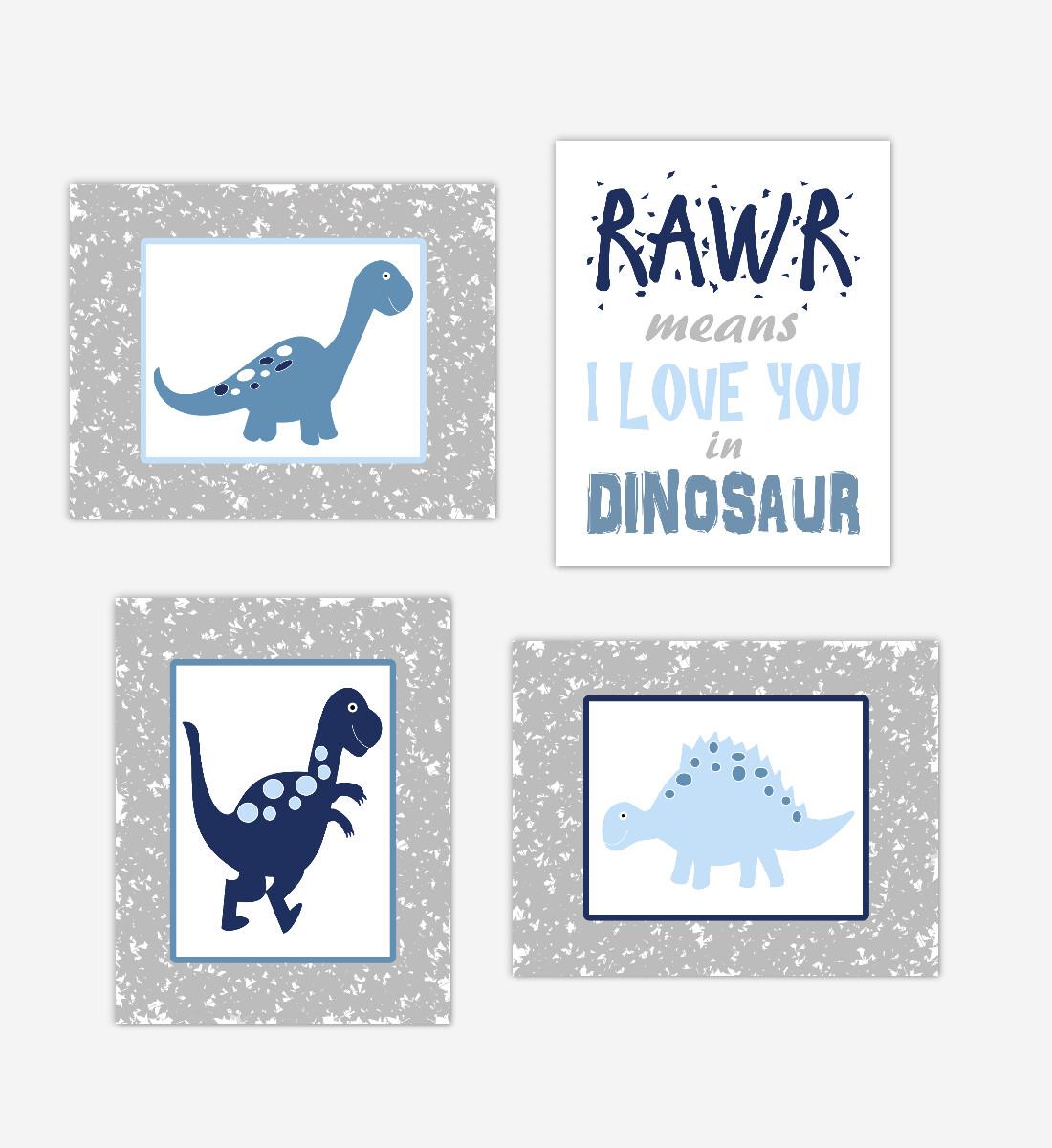 Dinosaur Baby Boy Nursery Wall Art Navy Blue Gray Dinos Print Baby Nursery Decor Playroom RAWR Means I Love You In Dinosaur