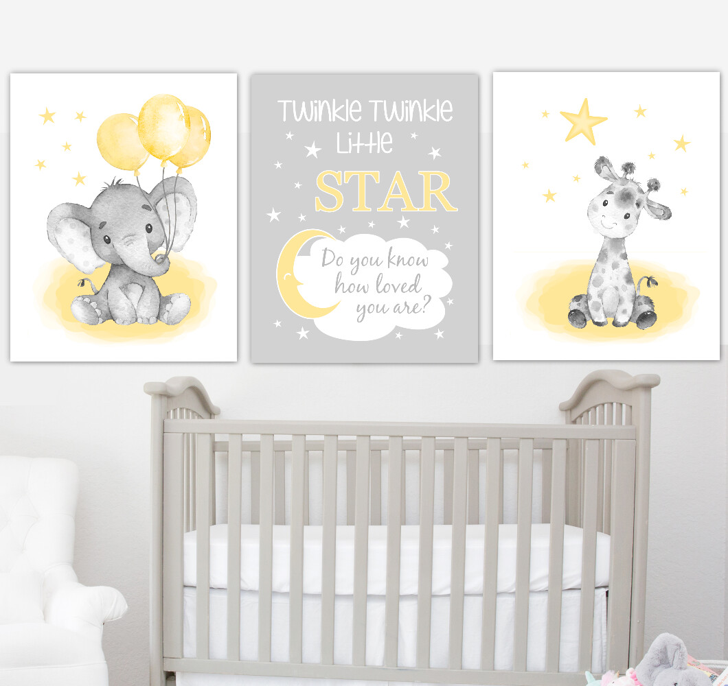 Yellow Baby Nursery Art Elephant With Balloons Giraffe Safari Animals Gender Neutral Wall Decor 3 UNFRAMED PRINTS or CANVAS