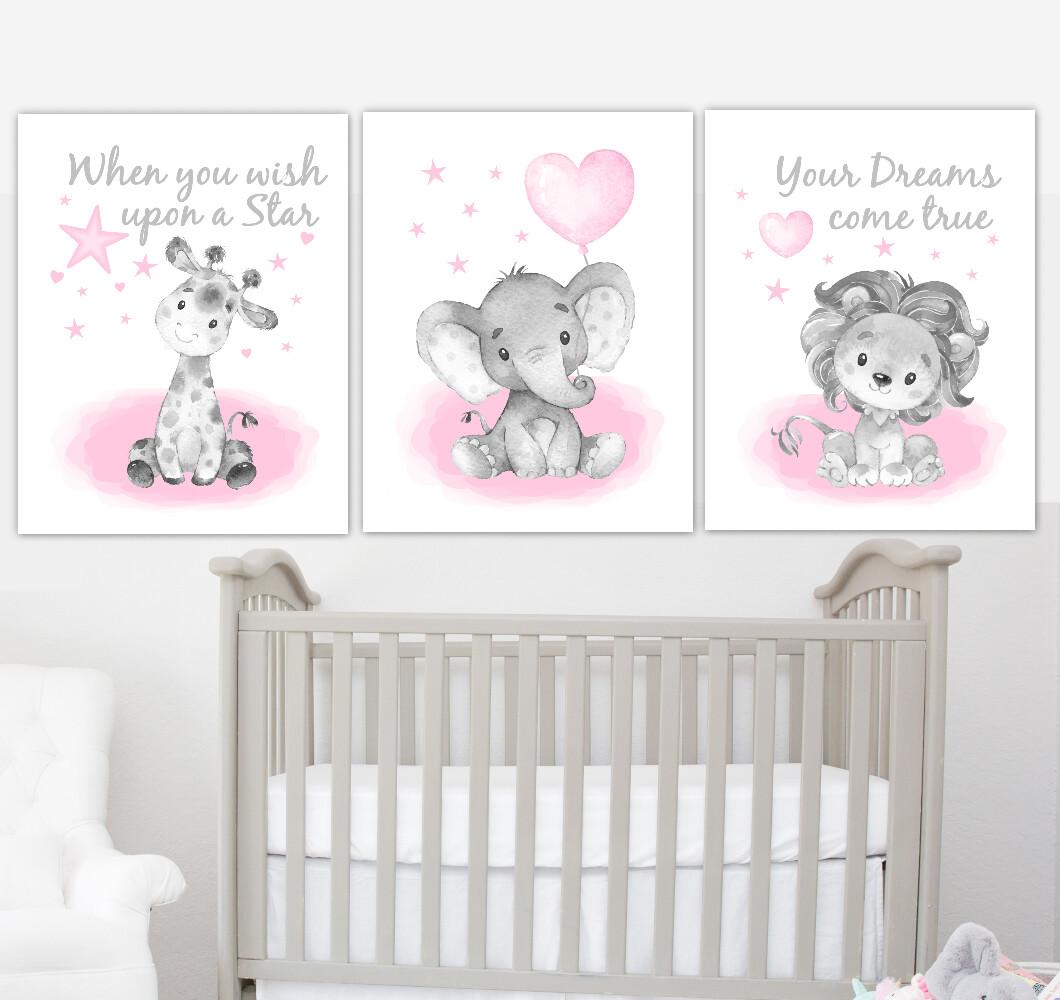Pink Baby Girl Nursery Art Elephant With Balloons Giraffe Lion Safari Animals Wall Decor 3 UNFRAMED PRINTS or CANVAS