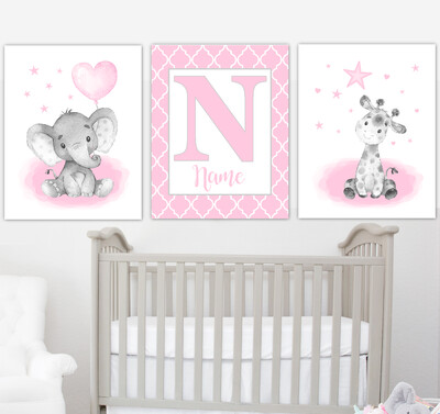 Pink Elephant With Balloons Giraffe Lion Safari Baby Girl Nursery Art Wall Decor  3 UNFRAMED PRINTS or CANVAS