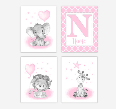 Pink Elephants Baby Girl Nursery Art Giraffe Lion Personalized Wall Decor 4 UNFRAMED PRINTS or CANVAS