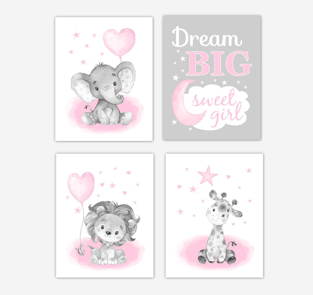 Pink Elephants Baby Girl Nursery Art Giraffe Lion Safari Animals Wall Decor 4 UNFRAMED PRINTS or CANVAS
