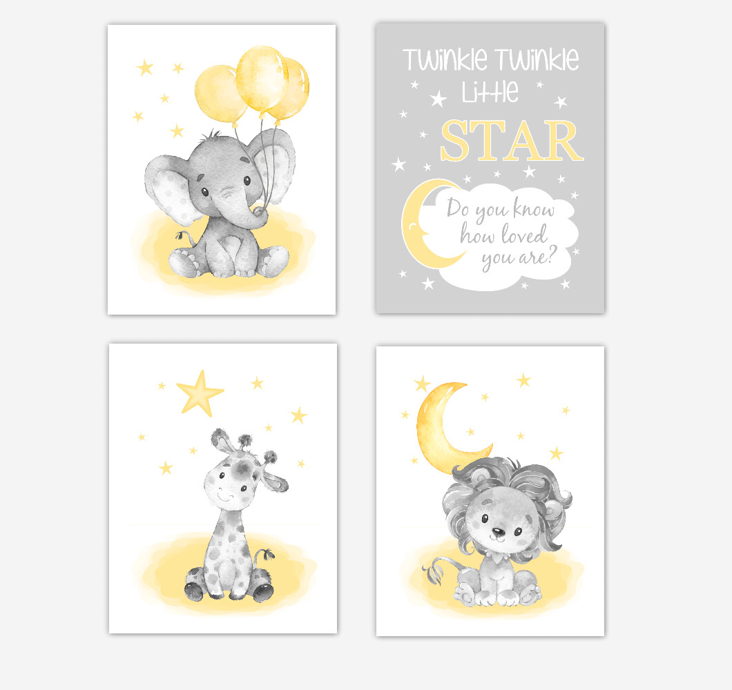 Yellow Elephants Baby Girl Nursery Art Giraffe Lion Safari Animals Wall Decor 4 UNFRAMED PRINTS or CANVAS
