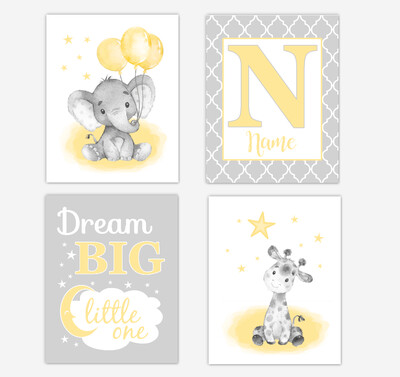 Yellow Elephants Baby Nursery Art Giraffe  Safari Animals Personalized Gender Neutral Wall Decor 4 UNFRAMED PRINTS or CANVAS