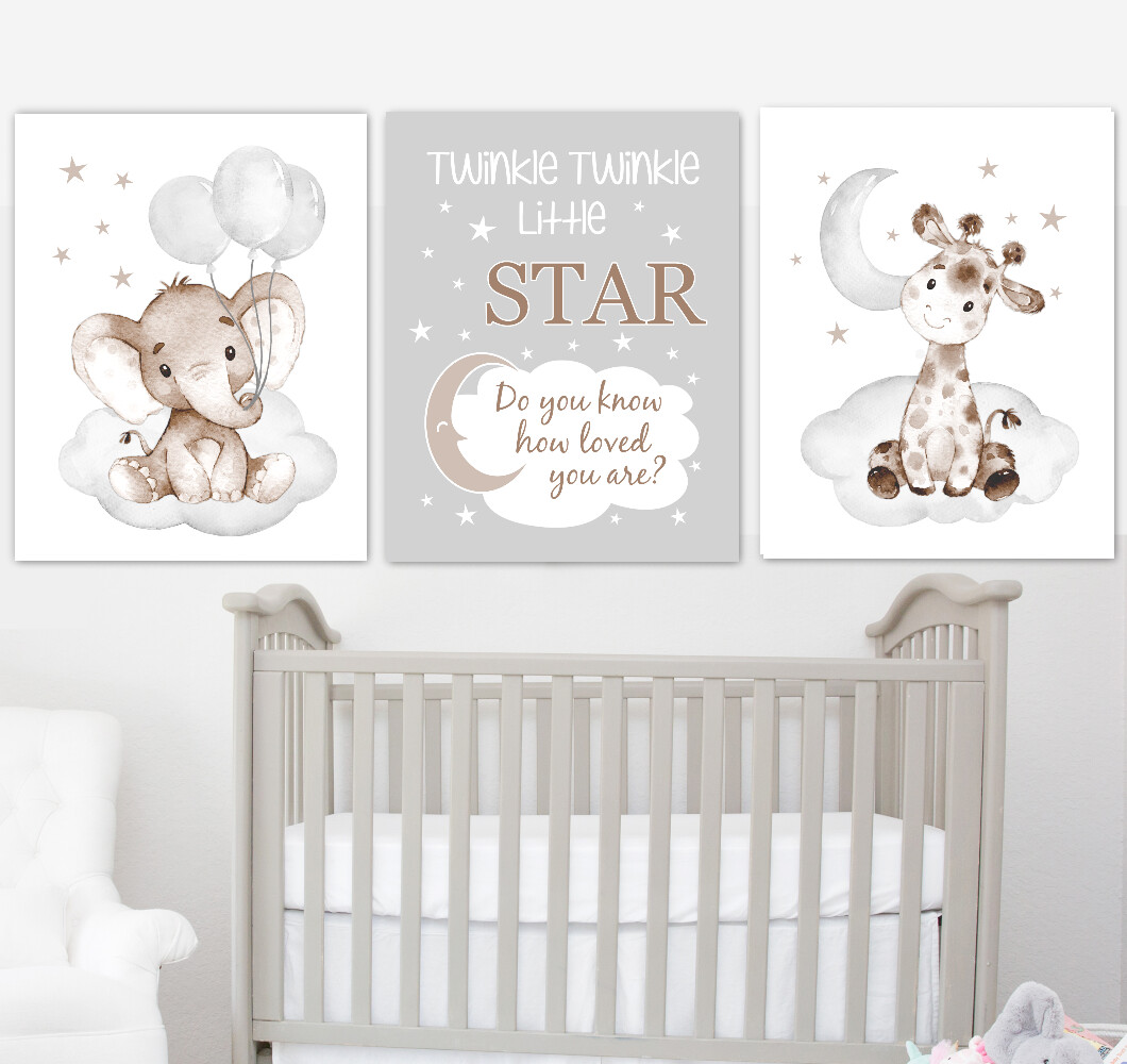 Baby Boy Nursery Art Elephant With Balloons Giraffe Brown Gray Safari Animals Wall Decor 3 UNFRAMED PRINTS or CANVAS