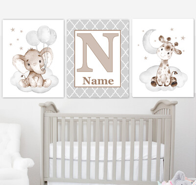 Baby Boy Nursery Art Elephant With Balloons Giraffe Brown Gray Safari Animals Personalized Wall Decor 3 UNFRAMED PRINTS or CANVAS