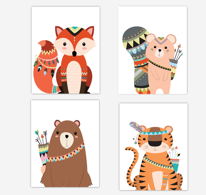 Tribal Fox Wall Art Woodland Animals Tiger Bear Squirrel Baby Boy Wall Decor 4 UNFRAMED PRINTS or CANVAS