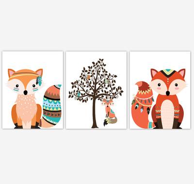 Tribal Fox Baby Boy Nursery Wall Art Decor Aztec Woodland Animals 3 UNFRAMED PRINTS or CANVAS