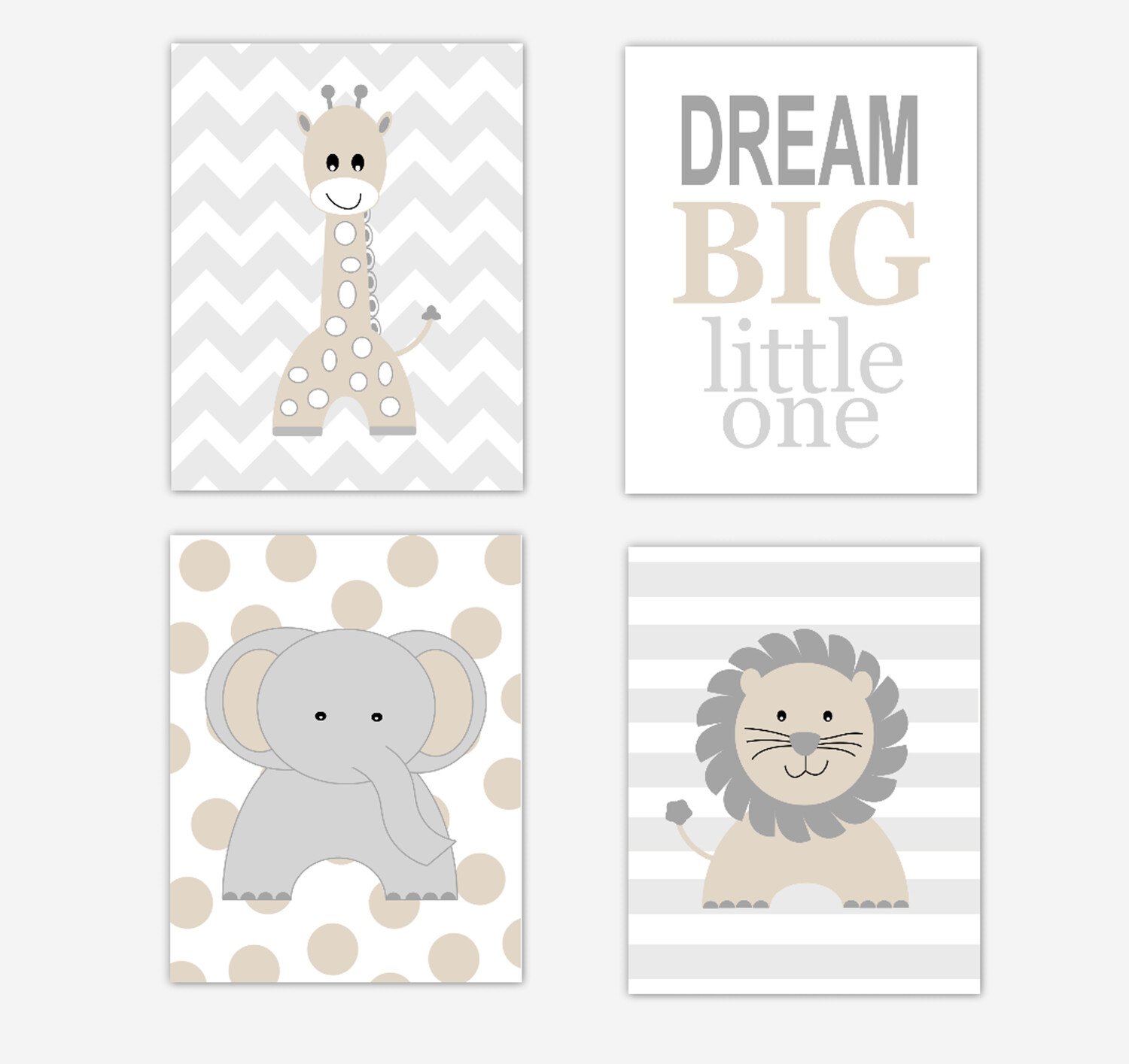 Safari Animals Baby Nursery Decor Beige Elephant Giraffe Lion Baby Boy Wall Decor 4 UNFRAMED PRINTS or CANVAS