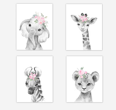 Safari Animals Baby Girl Nursery Wall Art Decor Pink Floral Elephant Giraffe Lion Zebra 4 UNFRAMED PRINTS or CANVAS