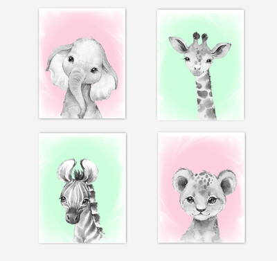 Safari Animals Baby Girl Nursery Wall Art Decor Pink Mint Elephant Giraffe Lion Zebra 4 UNFRAMED PRINTS or CANVAS