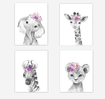 Safari Animals Baby Girl Nursery Wall Art Decor Pink Purple Floral Elephant Giraffe Lion Zebra 4 UNFRAMED PRINTS or CANVAS