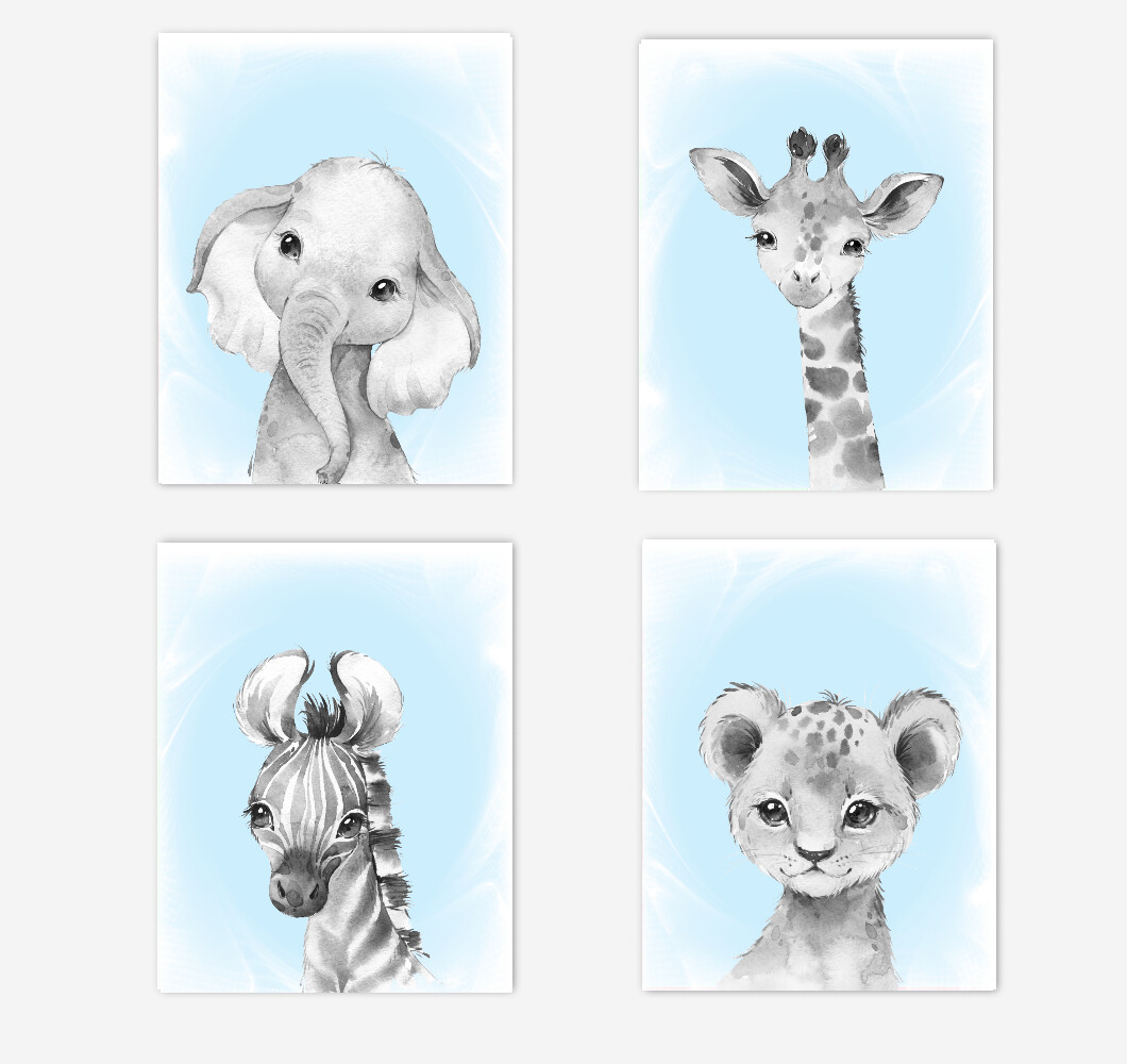 Safari Animals Baby Boy Nursery Wall Art Decor Blue Elephant Giraffe Lion Zebra 4 UNFRAMED PRINTS or CANVAS