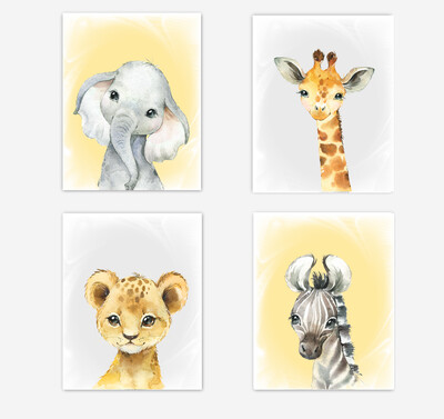 Safari Animals Baby Nursery Wall Art Decor Yellow Elephant Giraffe Lion Zebra Gender Neutral 4 UNFRAMED PRINTS or CANVAS