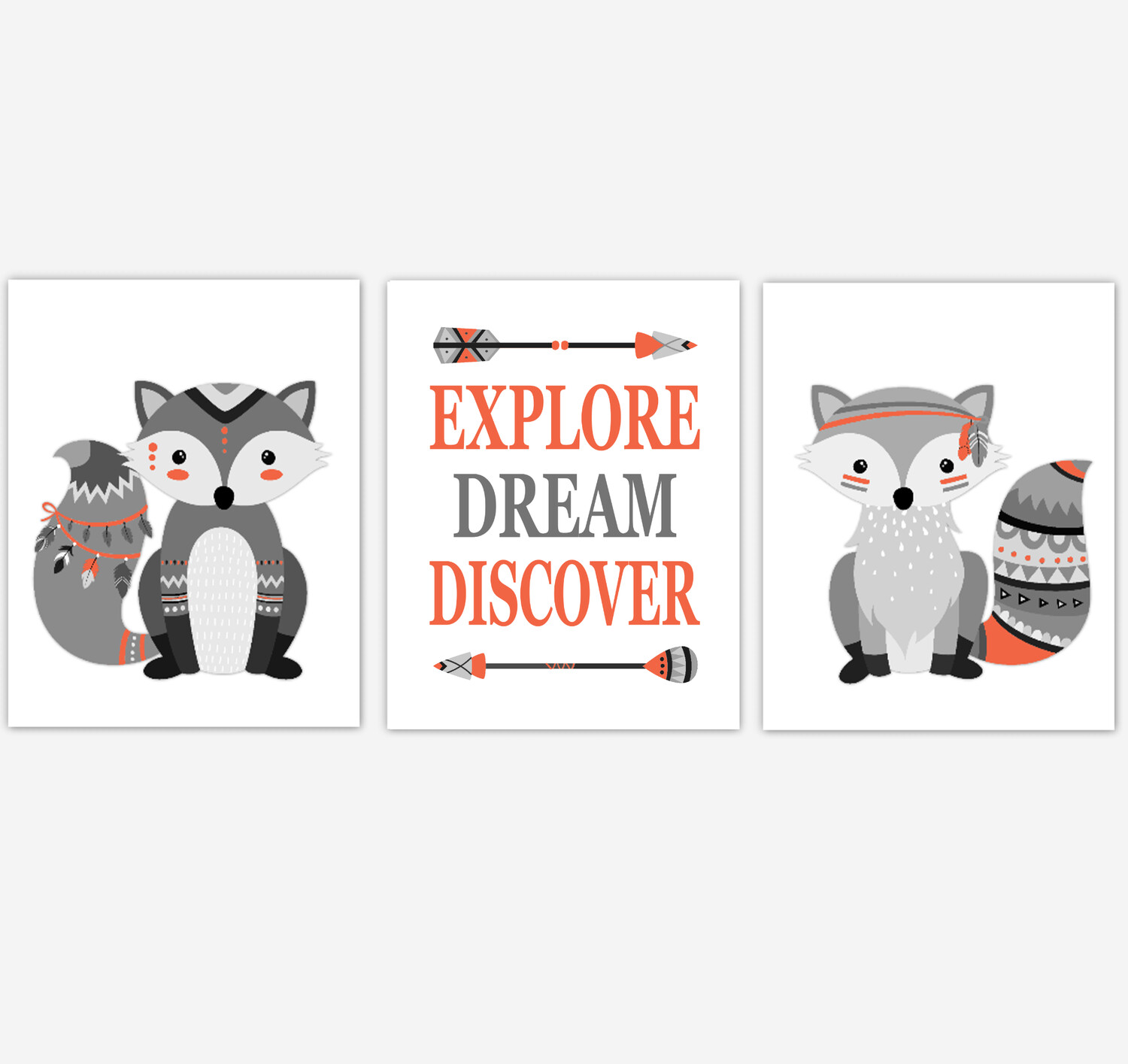 Tribal Fox Baby Boy Nursery Wall Art Orange Gray Aztec Woodland Animals Kids Bedroom Decor3 UNFRAMED PRINTS or CANVAS