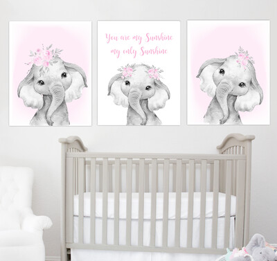 Pink Baby Girl Nursery Art Elephant Watercolor Flowers Safari Animals Wall Decor 3 UNFRAMED PRINTS or CANVAS