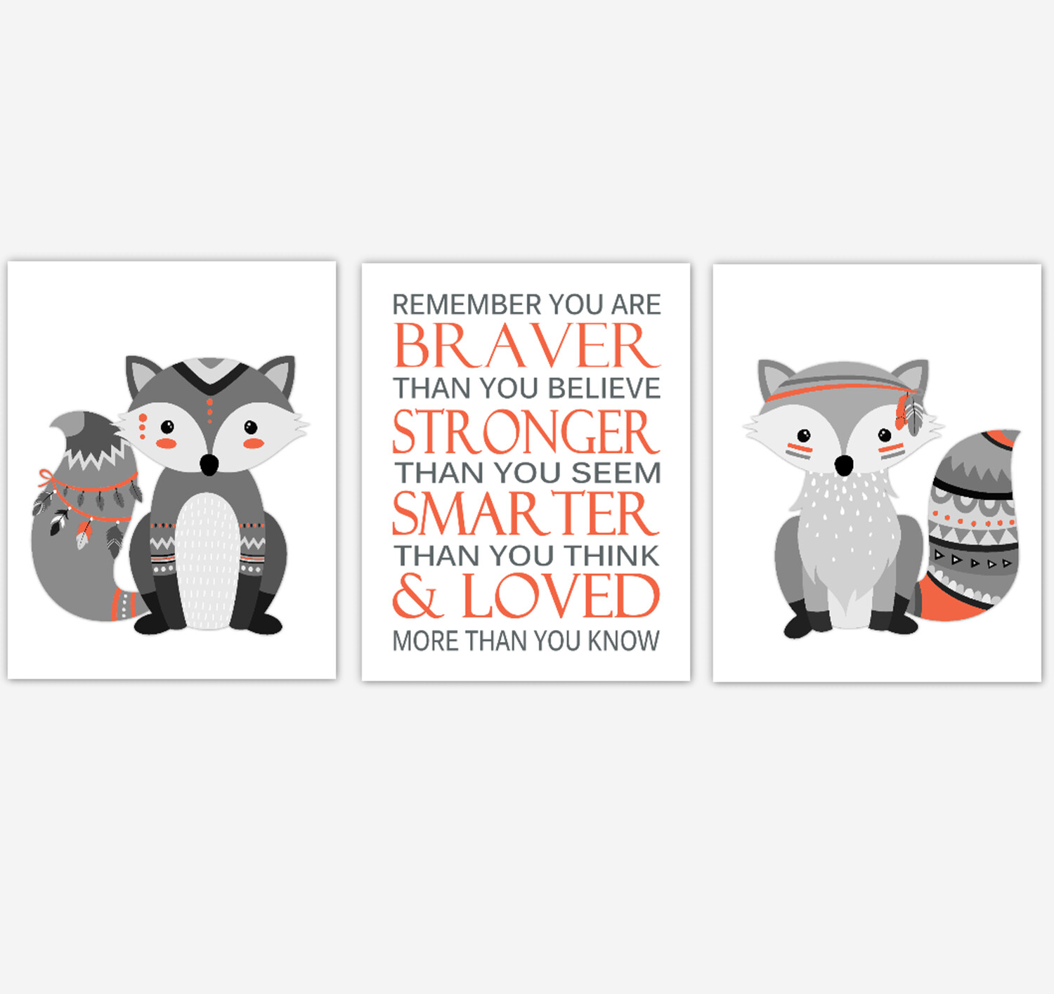 Tribal Fox Baby Boy Nursery Wall Art Orange Gray Aztec Woodland Animals Kids Bedroom Decor 3 UNFRAMED PRINTS or CANVAS