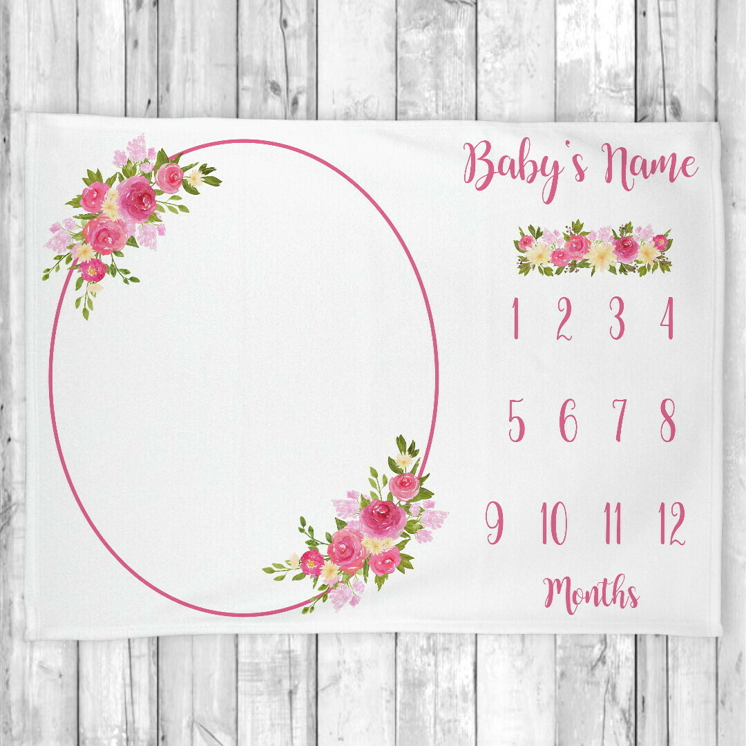 Monthly Milestone Baby Girl Blanket Personalized Floral Baby Blanket New Baby Shower Gift