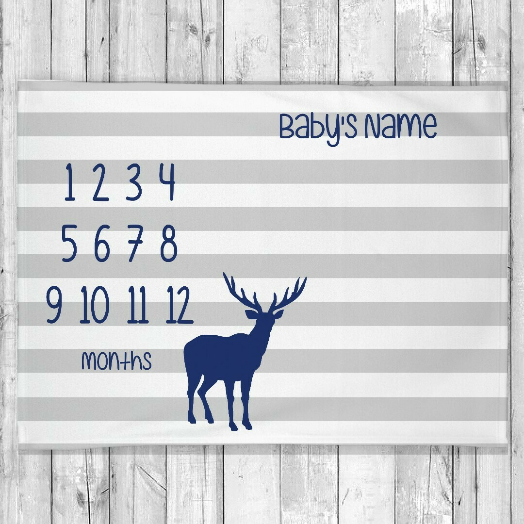 Monthly Milestone Baby Boy Blanket Deer Monthly Baby Blanket Personalized Baby Blanket Shower Gift