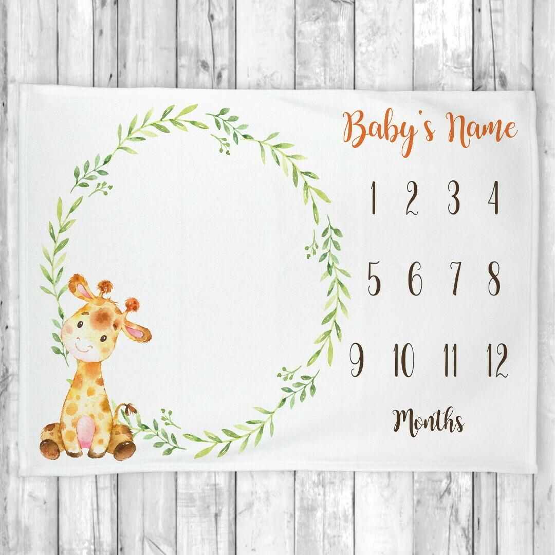 Monthly Milestone Baby Boy Blanket Personalized Giraffe Baby Blanket New Baby Shower Gift