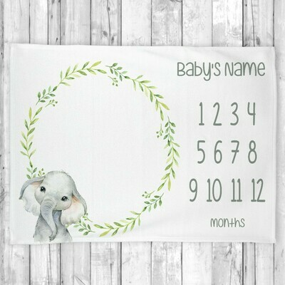 Monthly Milestone Baby Boy Blanket Personalized Elephant Baby Blanket New Baby Shower Gift
