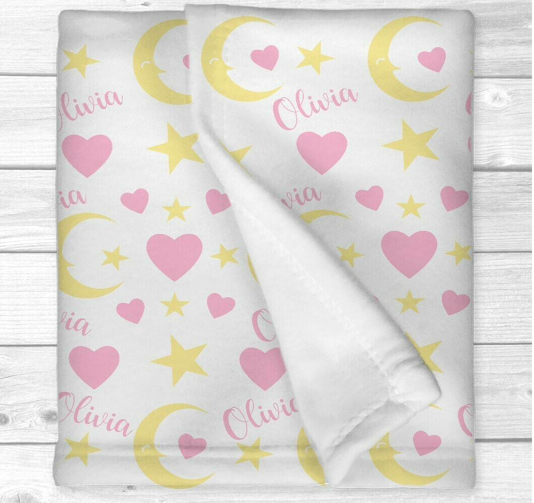 Personalized Baby Girl Blanket Pink Yellow Hearts Moon Baby Nursery Blanket Crib Bedding New Baby Shower Gift