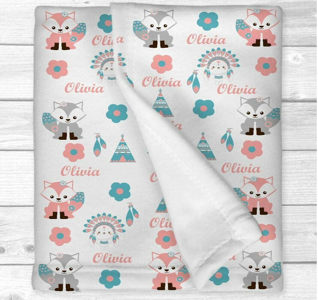 Personalized Baby Girl Blanket Boho Baby Blanket Tribal Fox Nursery Newborn Blanket Nursery Crib Bedding New Baby Shower Gift