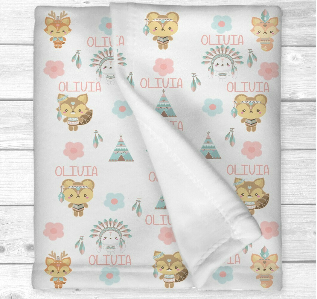 Personalized Baby Girl Blanket Boho Tribal Animals Newborn Blanket Nursery Crib Bedding New Baby Shower Gift