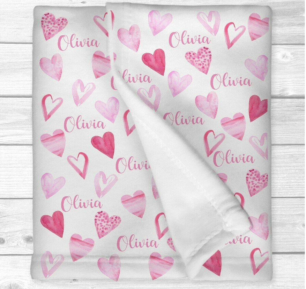 Personalized Baby Girl Blanket Pink Love Hearts Nursery Newborn Blanket Nursery Crib Bedding New Baby Shower Gift