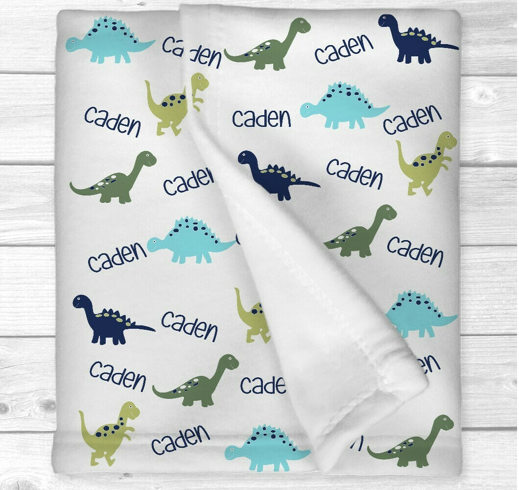 Dinosaur Personalized Baby Boy Blanket Baby Blanket Blue Green Dinosaur Baby Blanket Crib Bedding New Baby Shower Gift