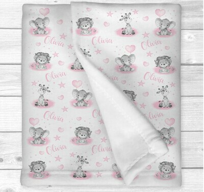 Safari Animals Personalized Baby Girl Blanket Pink Elephant Giraffe Lion New Baby Shower Gift Crib Blanket