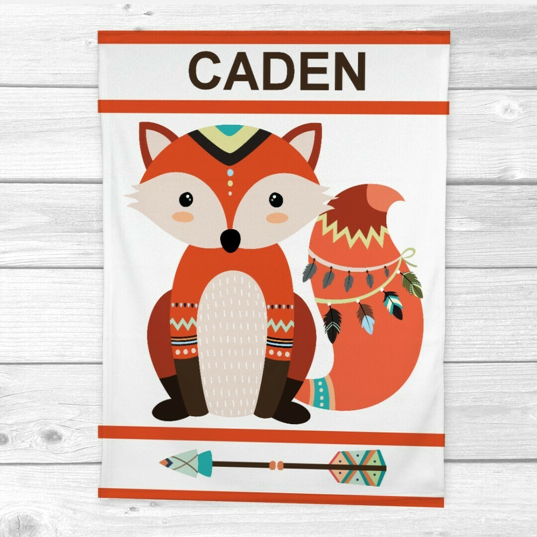 Fox Baby Boy Blanket Personalized Toddler Blanket Tribal Woodland Nursery Decor New Baby Shower Gift