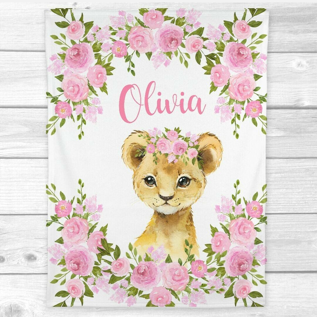 Personalized Baby Girl Blanket Lion Cub Pink Floral Safari Animal Nursery Blanket Minky Fleece Blankets Nursery Decor New Baby Shower Gift