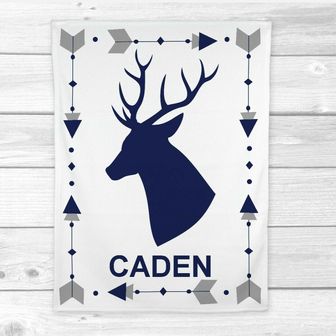 Navy Blue Deer Baby Boy Blanket Personalized Minky Fleece Blankets Nursery Decor New Baby Shower Gift