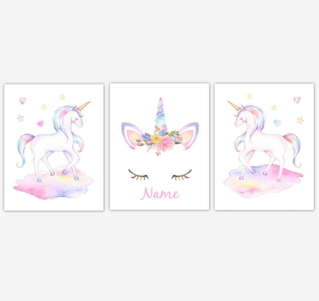 Rainbow Unicorn Wall Art Girl Bedroom Art Unicorn Baby Nursery Decor Art Prints Personalized Prints or Canvas