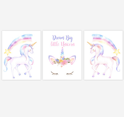 Rainbow Unicorn Face Wall Art Dream Big Girl Bedroom Art Unicorn Baby Nursery Decor Art Prints or Canvas