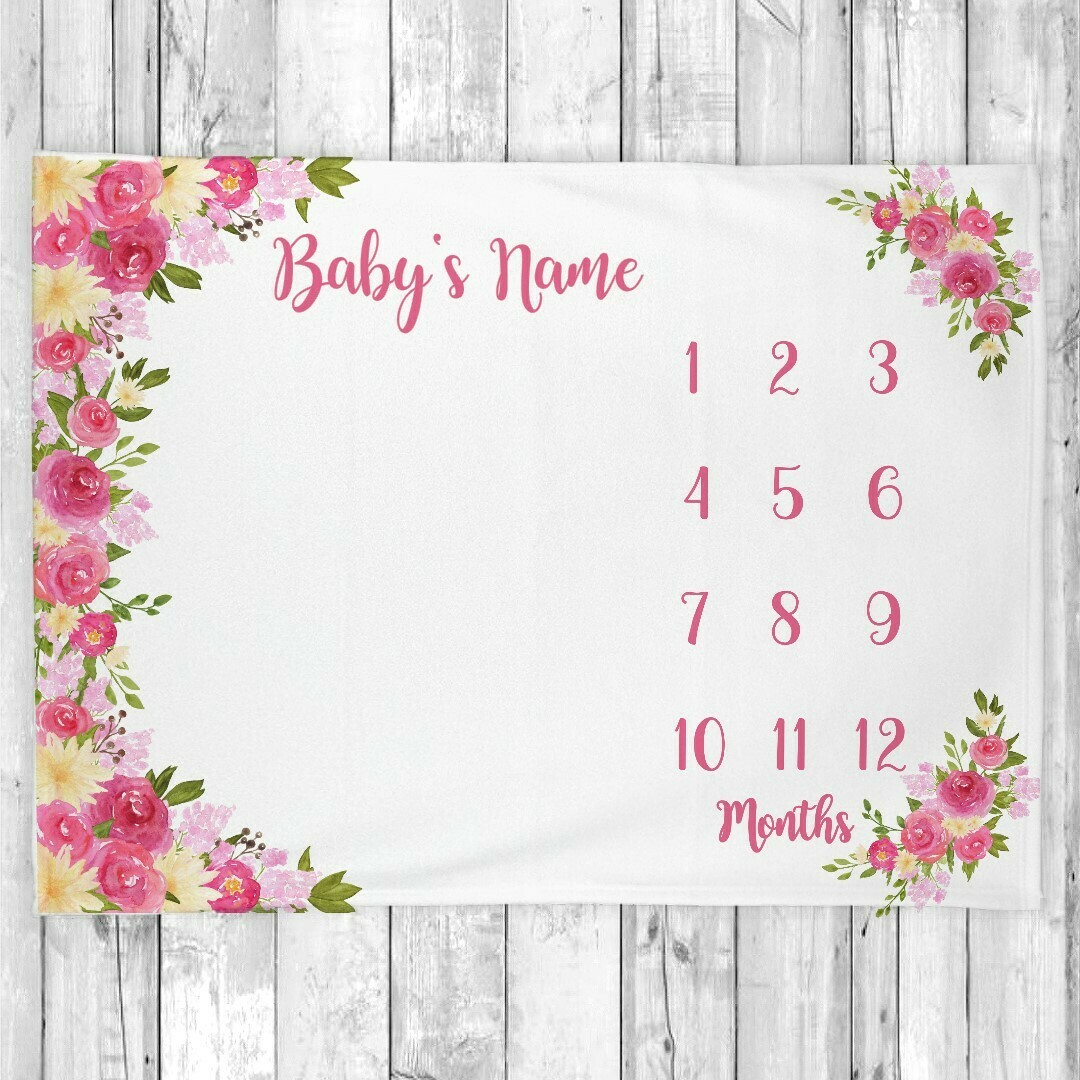 Monthly Milestone Baby Girl Blanket Personalized Floral Baby Blanket New Baby Shower Gift Baby Photo Op Backdrop