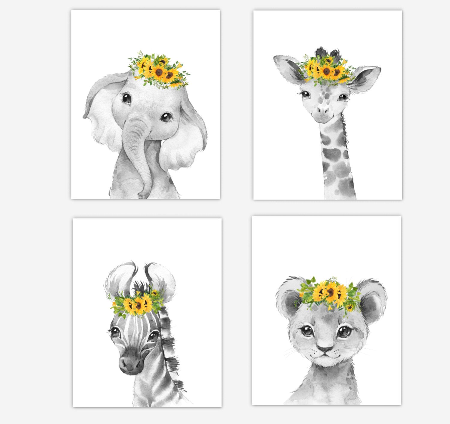 Safari Animals Baby Girl Nursery Wall Art Decor Sunflowers Floral Elephant Giraffe Lion Zebra 4 UNFRAMED PRINTS or CANVAS