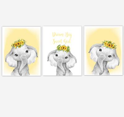 Safari Animals Elephants Baby Girl Nursery Wall Art Decor Sunflowers Floral 4 UNFRAMED PRINTS or CANVAS