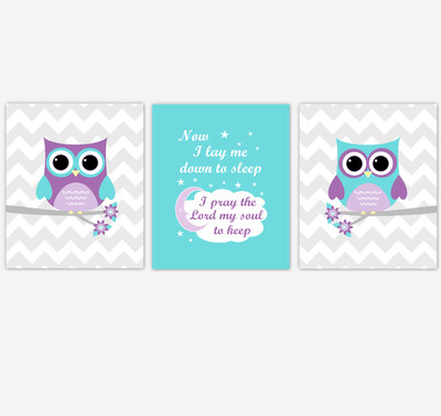 Baby Girl Nursery Wall Art Purple Teal Owls Prints Baby Nursery Decor SET OF 3 UNFRAMED PRINTS or CANVAS