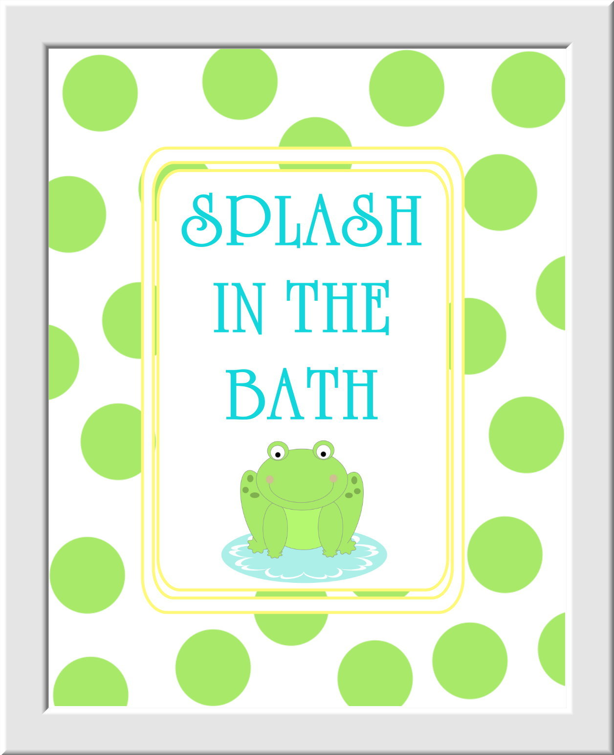 Baby Nursery Wall Art Kids Bathroom - Set of 3 - Wash Splash Brush Teeth - Green Frog Yellow Teal - Boys - Girls