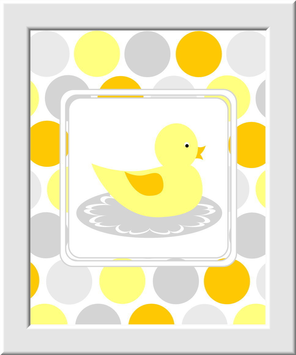 Kids Bath Wall Art Rubber Duck Ducky Yellow Orange Gray Grey Brush ...