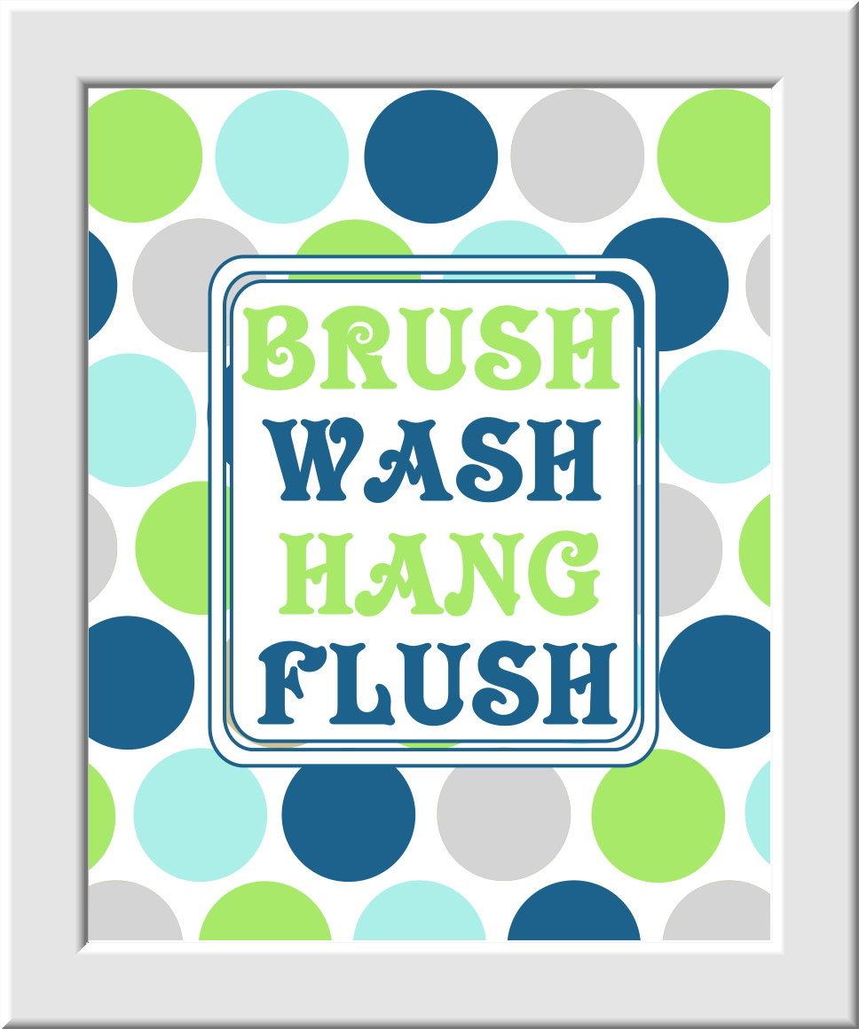 Baby Nursery Wall Art Kids Bathroom - Set of 3 - Brush Wash Hang Flush - Green Gray Blue Light Cyan - Boys - Girls