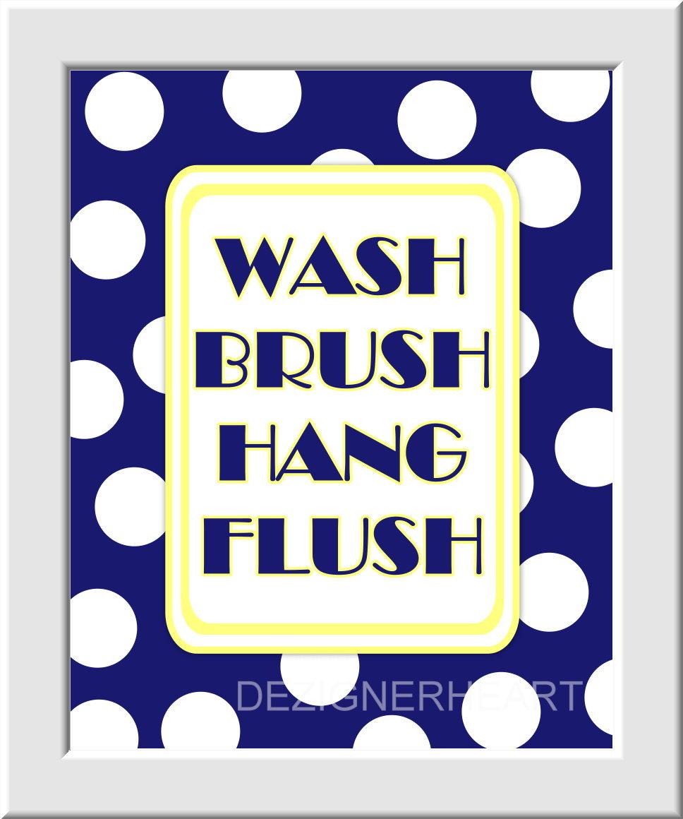 Baby Nursery Wall Art Kids Bathroom - Set of 3 - Brush Wash Hang Flush - Yellow Duck Blue White - Boys - Girls