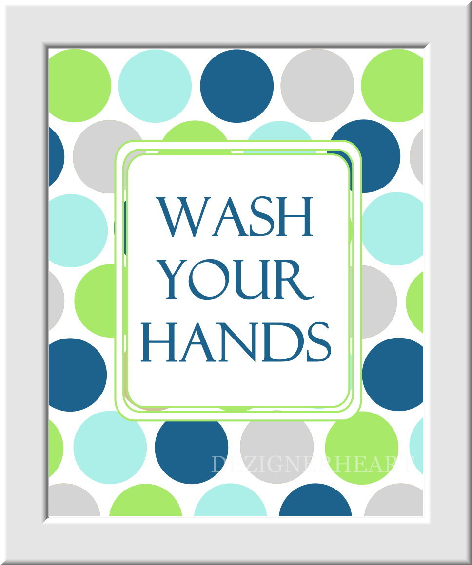 Baby Nursery Wall Art Kids Bathroom - Set of 3 - Wash Hands Brush Teeth - Green Frog Blue Gray Light Cyan - Boys - Girls