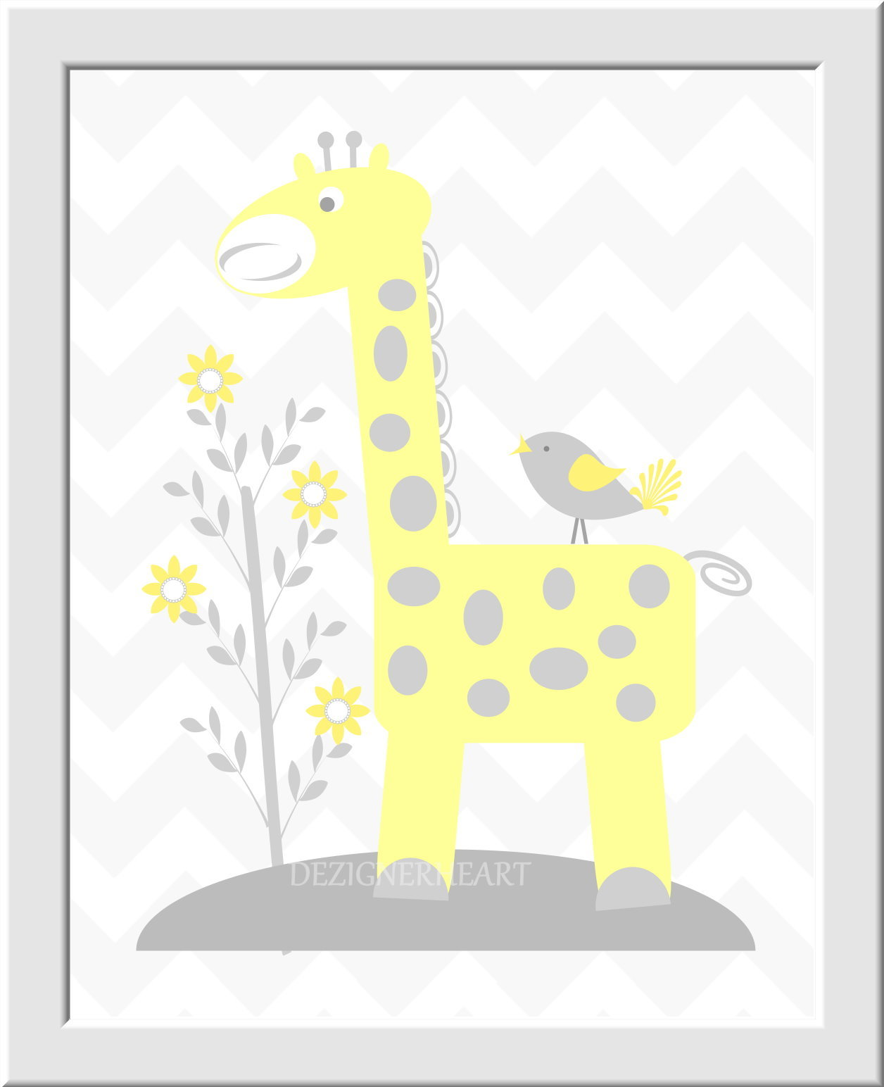 Baby Nursery Wall Art Gray Yellow Gray Elephants Giraffe Birds ...