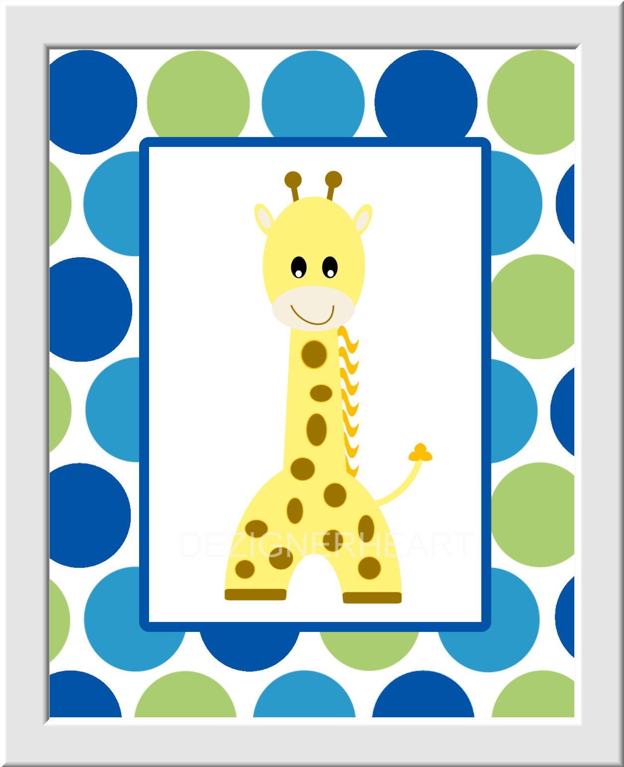 Baby Boy Nursery Wall Art Blue Green Gray Elephant Giraffe Zebra ...